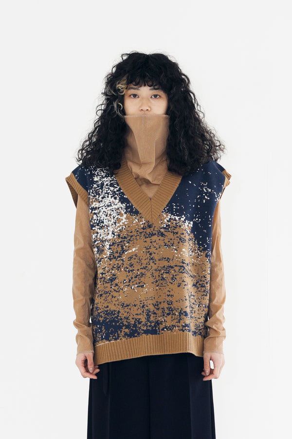 MURRAL ray of  light knit vest top (navy)
