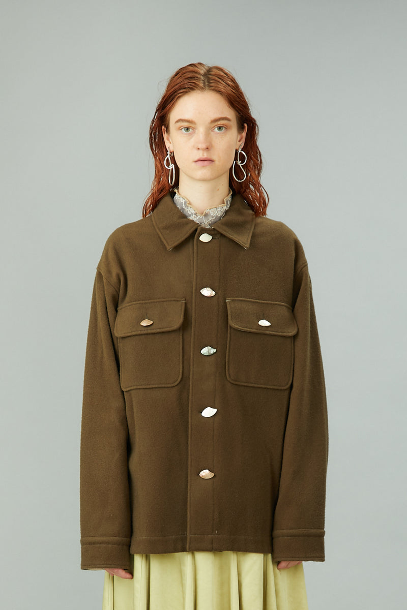 wool oversized shirt jacket (khaki)