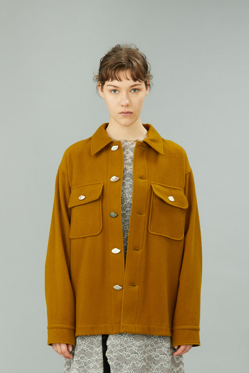 wool oversized shirt jacket (yellow)