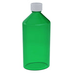 16 oz Green Oval Bottles w/ Oral Adapters - 40 Count
