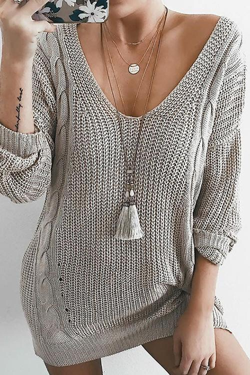 Casual Knit V-neck Sweater