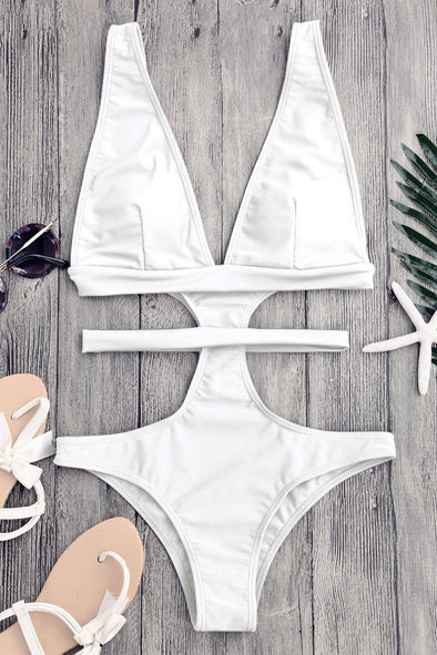 E&C White Cutout Plunging Neck Bandage Cheeky Sexy Monokini Swimwear