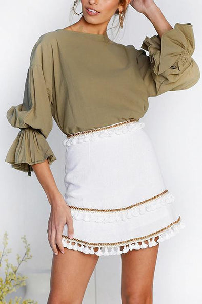 Back Button Flared Sleeve Top