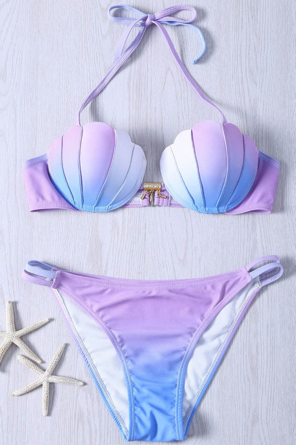 purple blue ombre halter Mermaid Seashell Top Bikini Sexy Swimsuit