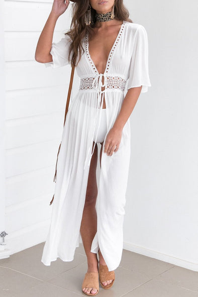 White Crochet Trim Maxi Cover Up Dress