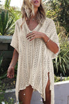 White Crochet Hollow Out Sexy Beach Bathing Suit Cover Up Dress