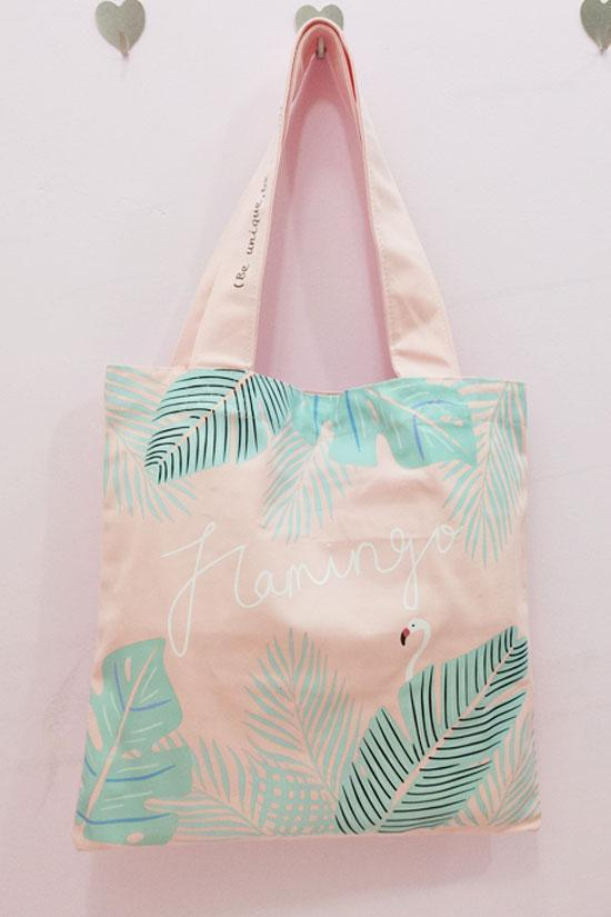 Tropical Flamingo Printed Shoulder Bag