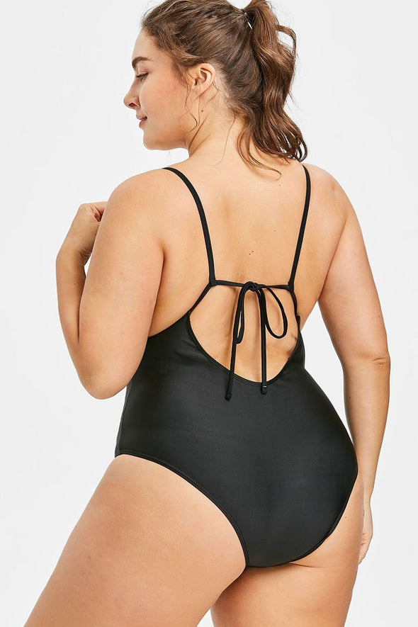 Plus Size Floral Low Back Embroidery One Piece Swimsuit