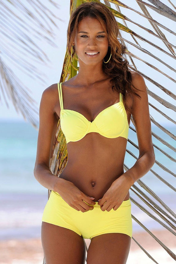 Athletic Push Up Boyshort Bikini Swimsuit - Two Piece Set