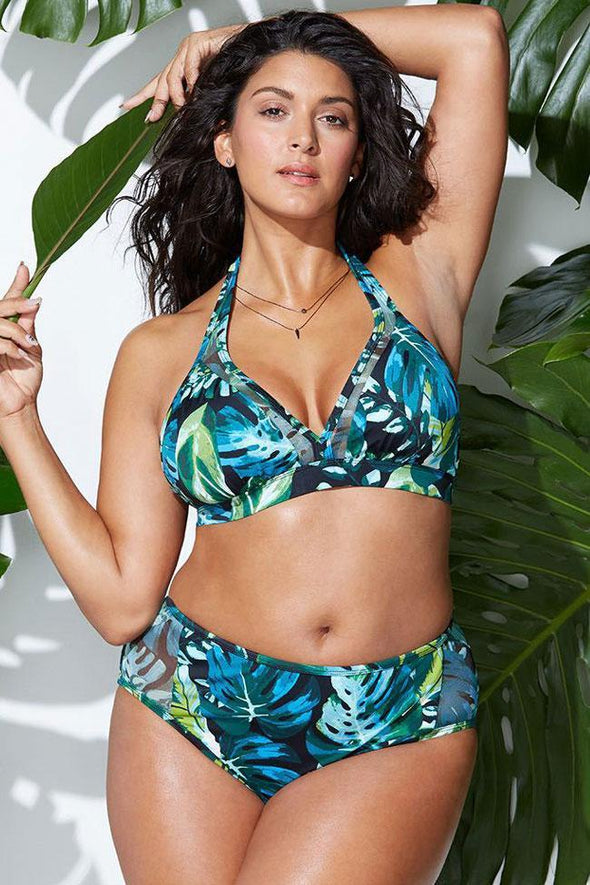 PLUS SIZE TROPICAL PALM LEAF SPLICING MESH HALTER TRIANGLE BIKINI - TWO PIECE SWIMSUIT