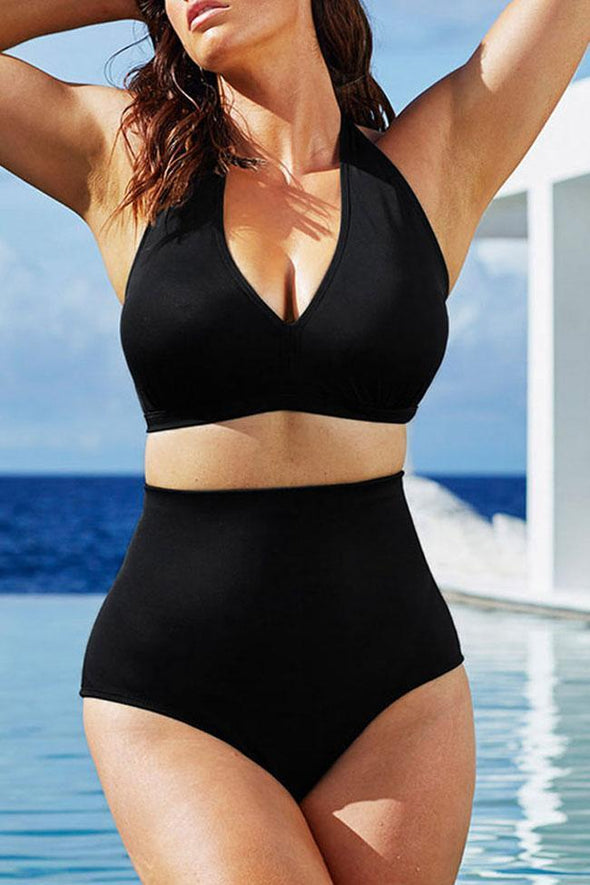 PLUS SIZE HIGH WAISTED PLUNGED V HALTER BIKINI - TWO PIECE SWIMSUIT