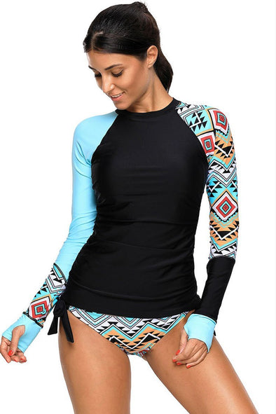 ETHNIC COLOR BLOCK LONG SLEEVE RASH GUARD TANKINI - TWO PIECE SWIMSUIT