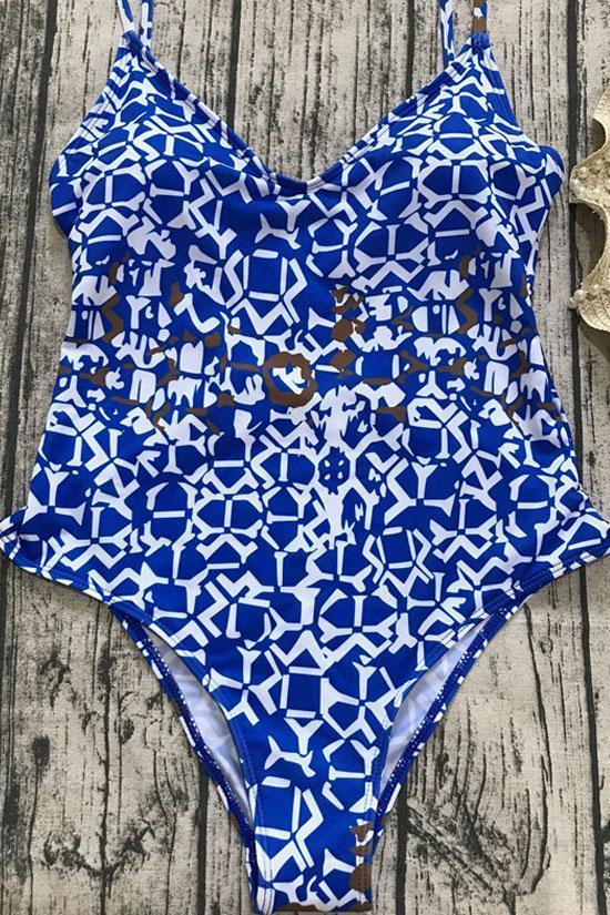 Low Back Geometric Printed High Leg One Piece Swimsuit