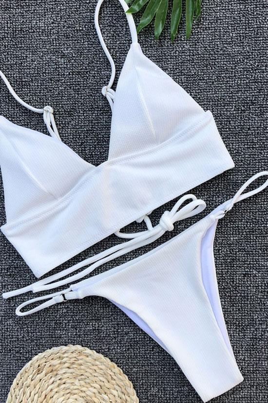 Ribbed Lace Up Back Triangle Bikini - Two Piece Swimsuit