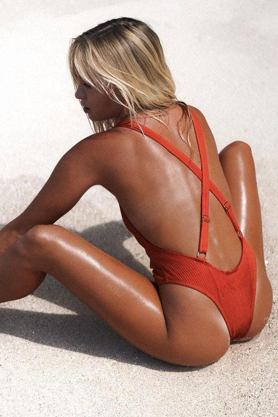 Cross Straps Low Back High Leg Ribbed Thong One Piece Swimsuit