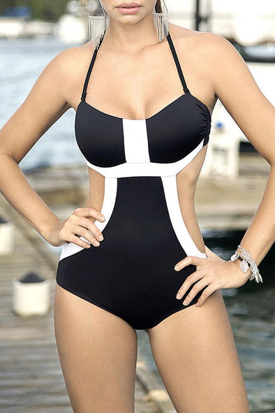 Low Back Contrast Color Bandeau Monokini One Piece Swimsuit