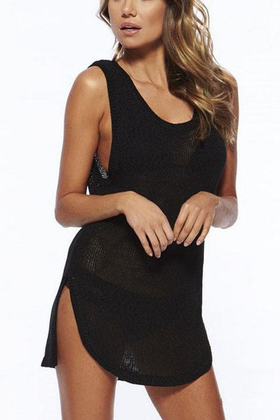 E&C Black Scoop Neck Keyhole Crochet Asymmetric Beach Cover Up Tank Dress