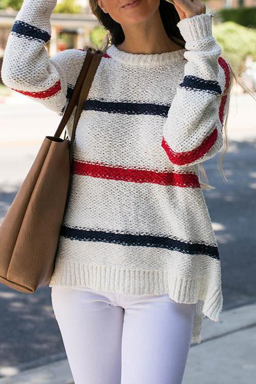 Stitching Striped knit Sweater