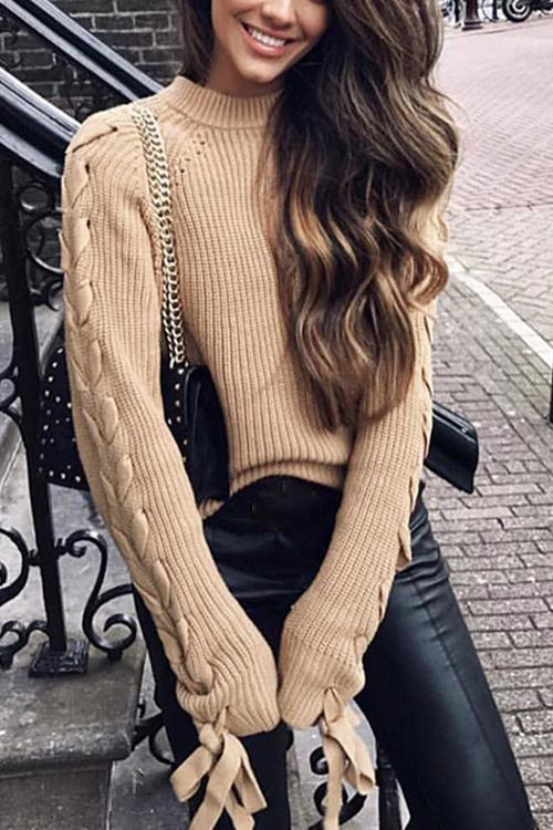 Sweet Round Neck Long Sleeve Strap Sweater