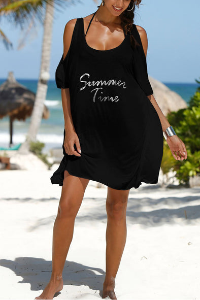 E&C Black Cold Shoulder Letter Print Asymmetric T Shirt Dress Beach Cover Up