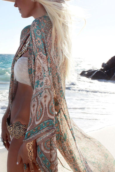 Coffee Paisley Tribal Print Kimono Long Beach Cover Up Cardigan