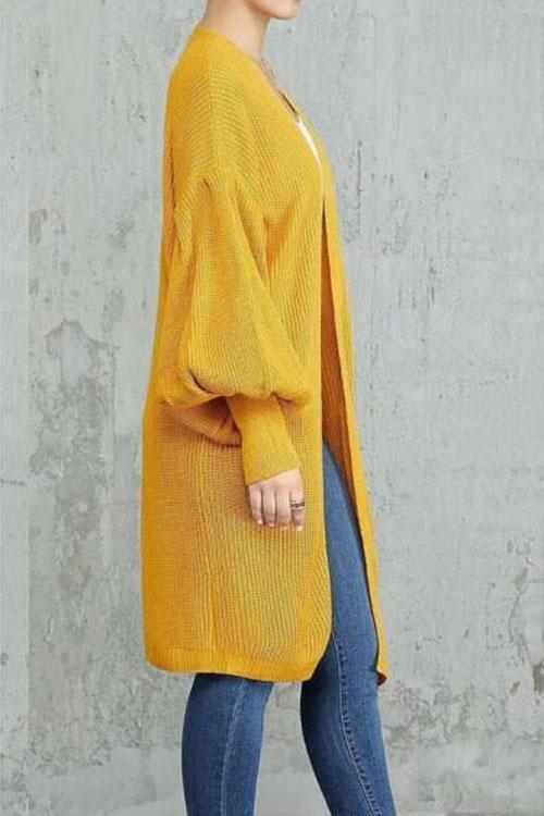 Loose Solid Color Lantern Sleeves In Long Cardigan
