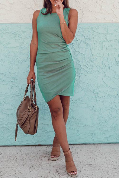 Ruched Sheath T-shirt Dress