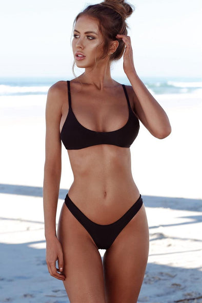 E&C Black High Cut Cheeky Sexy Bikini Swimsuit