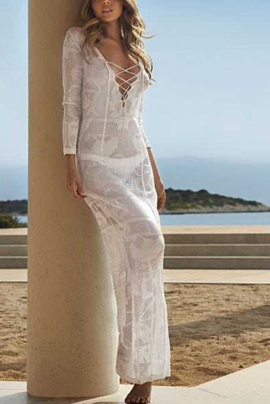 White Lace Up Crochet Sheer Slit Long Beach Cover Up Dress