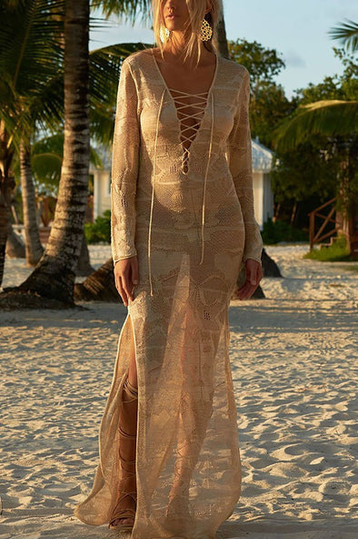 Apricot Lace Up Crochet Sheer Slit Long Beach Cover Up Dress
