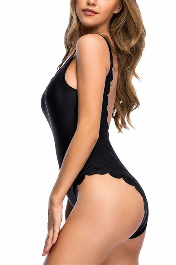 E&C Black Scalloped Low Back Scoop Neck Cute One Piece Swimsuit