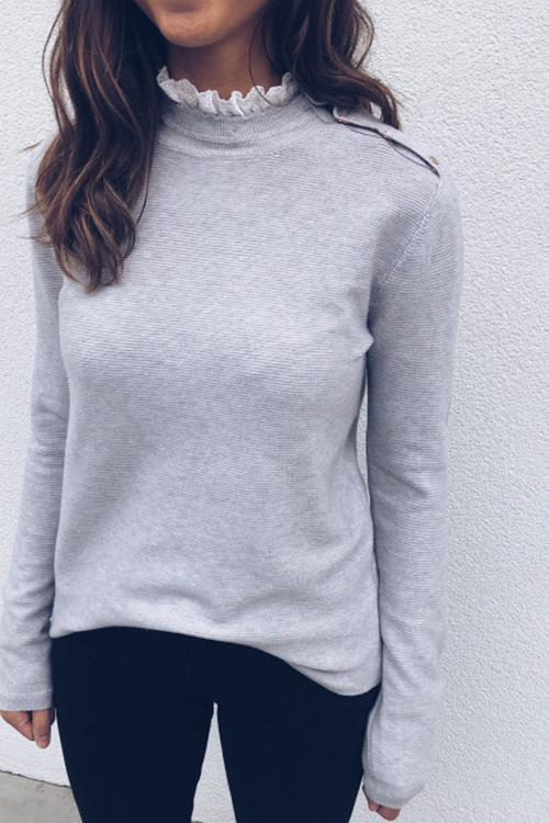 Solid color Slim High Collar long Sleeve Thread T-shirt