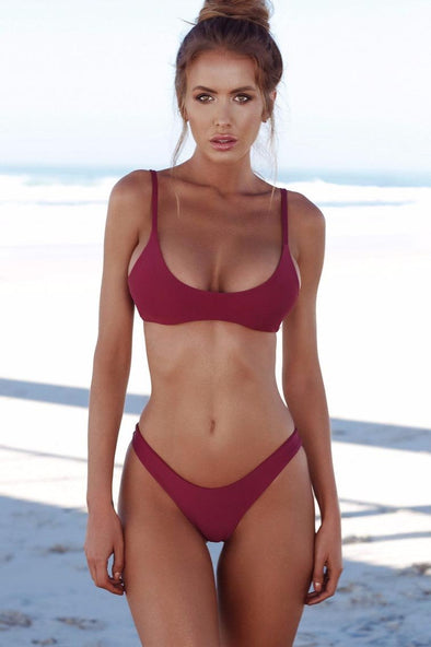 E&C Burgundy High Cut Cheeky Sexy Bikini Swimsuit
