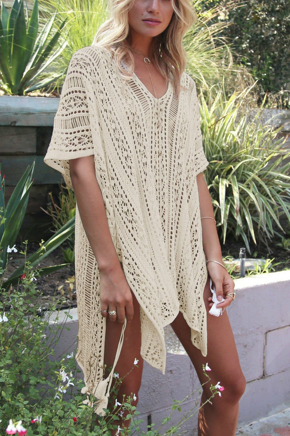 Apricot Crochet Hollow Out Sexy Beach Bathing Suit Cover Up Dress