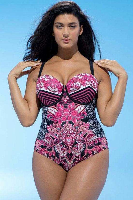 Plus Size Ethnic Push Up Underwired One Piece Swimsuit