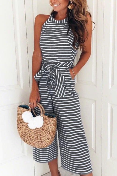 Bohemian Round Neck Striped Jumpsuits