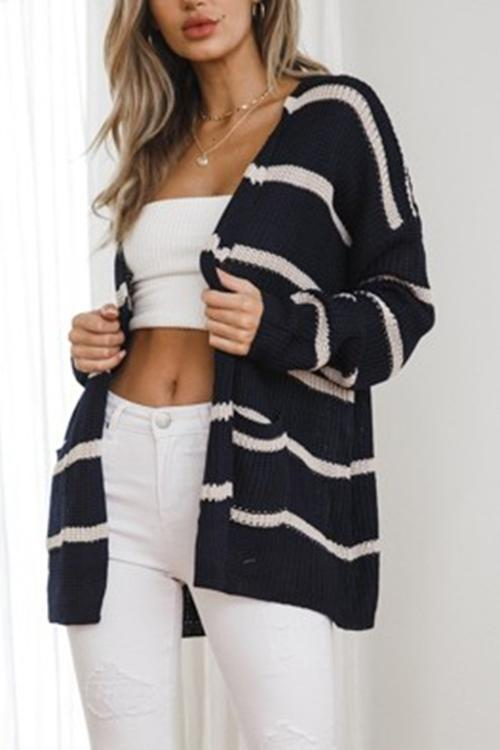 Double Pocket Striped Sweater Cardigan