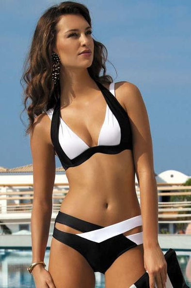 E&C White Black Strappy Cutout Two Tone Halter Sexy Bikini Two Piece Swimsuit