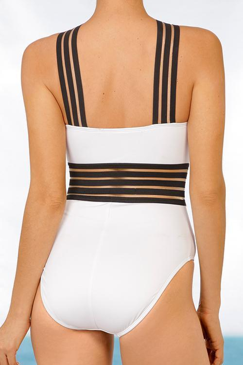 Splice Elastic Band Halter Monokini Swimsuit