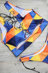 Yellow Blue Strappy Color Block Side Tie High Cut Cheeky Two Piece Swimsuit