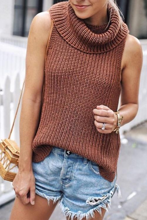 New Loose Solid Color Turtleneck Sweater
