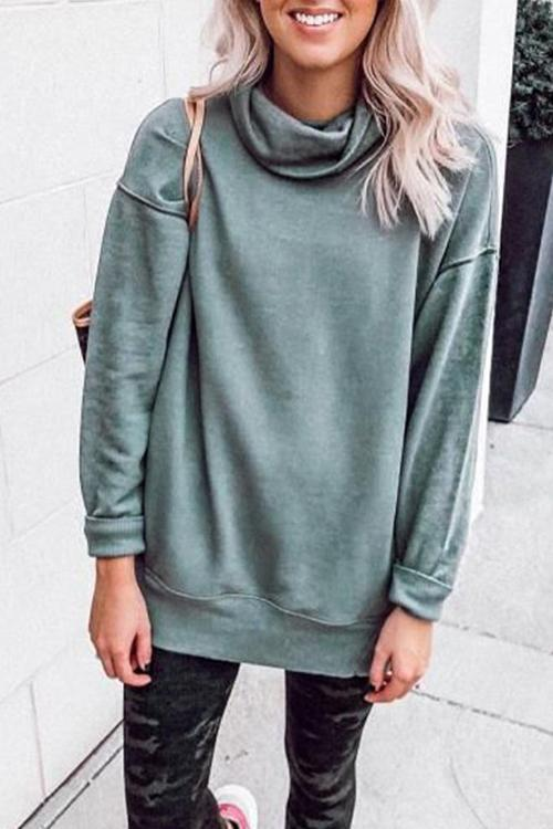 Pure Color Pile Collar Casual Hoodie