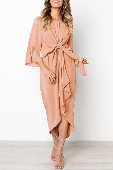 Knot Design Pink Maxi Dress