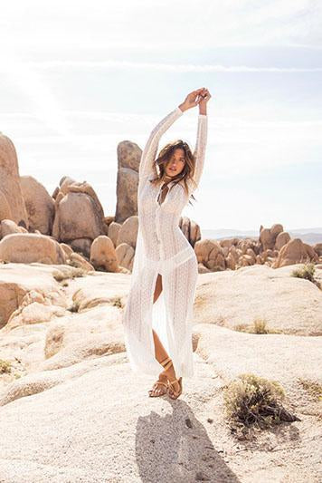 White Boho Sheer Lace Long Sexy Beach Cover Up Dress