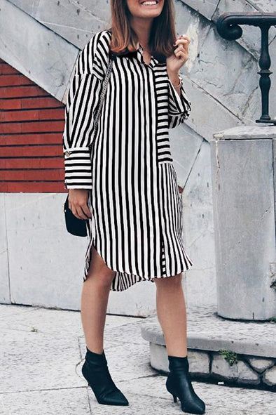 Casual Striped Loose Long Sleeve Dress