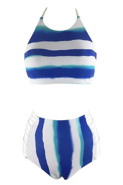 E&C White Blue High Neck Halter Stripe Tie Dye Strappy High Waisted Sexy Bikini Swimsuit