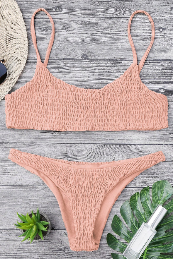 E&C Pink Smocked Scoop Neck High Cut Sexy Cheeky Two Piece Brazilian Bikini Swimsuit