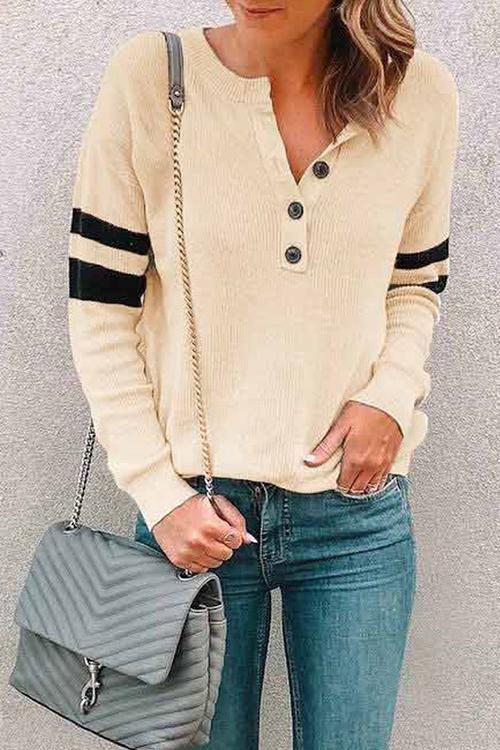 Round Neck Button Comfortable Color Matching Sweater