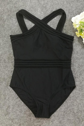 Black High Neck Mesh Sexy One Piece Swimsuit