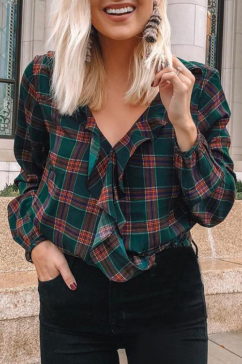 Collage Style Blackish Green Blouses